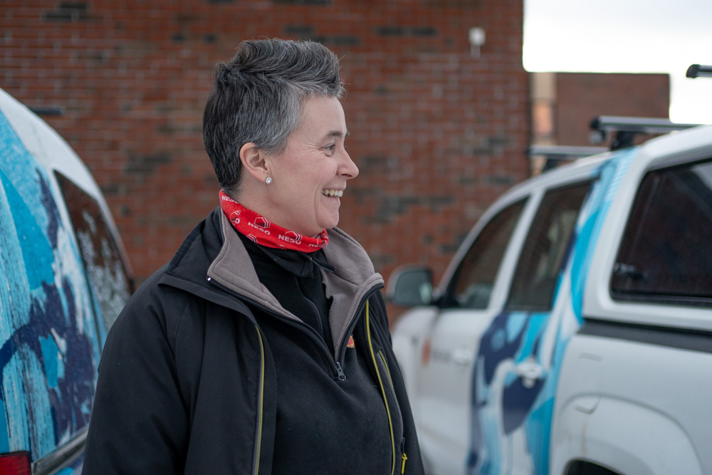 June, en av energimontørene i Troms Kraft Nett.